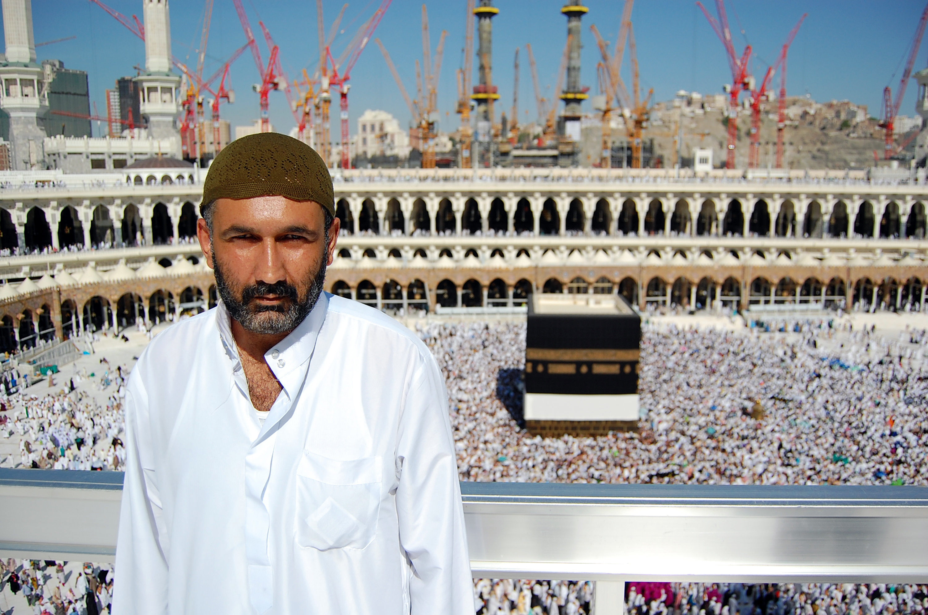 Parvez Sharma photographed with the Kaaba behind him. (Photo courtesy Haram Films/TNS)